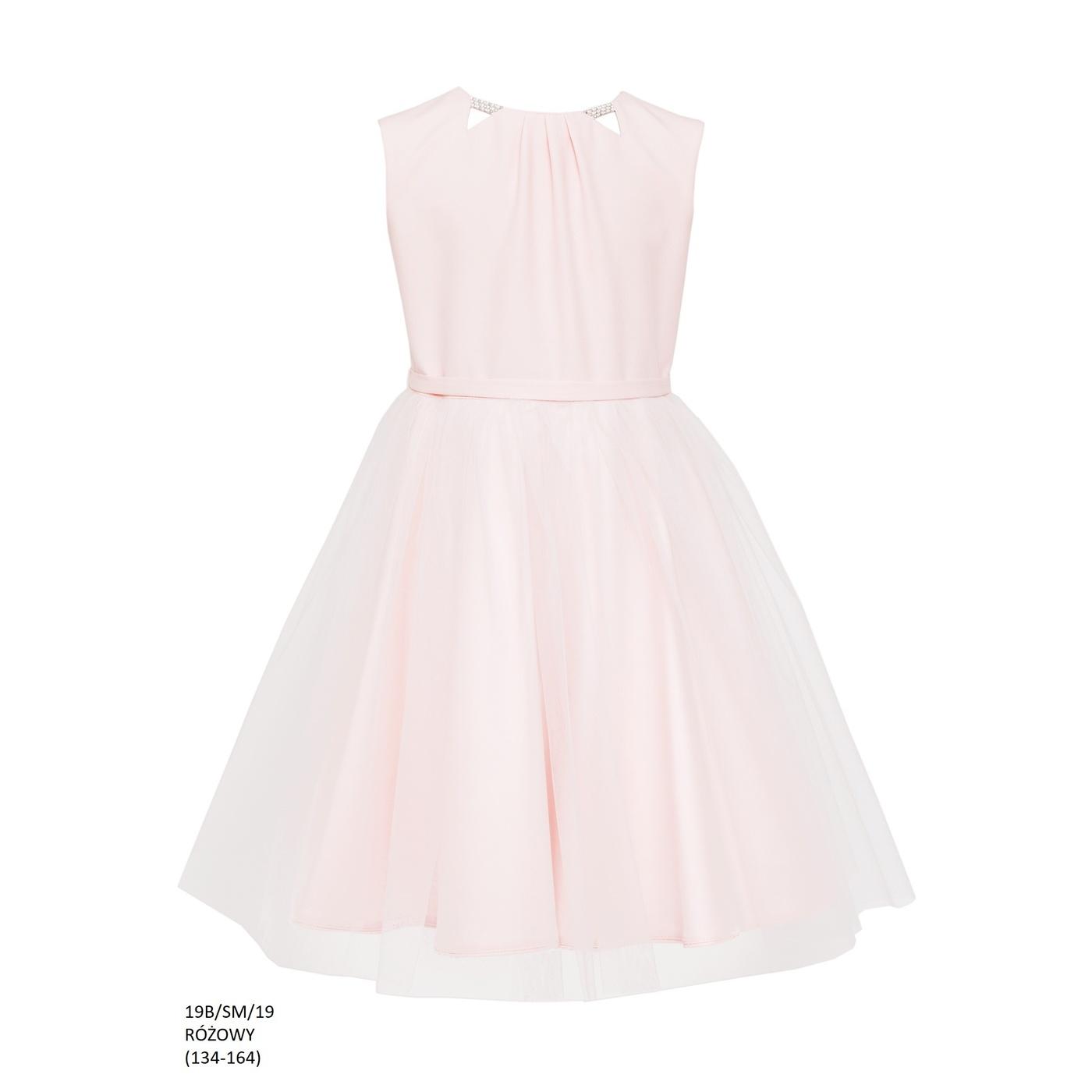 75d9081e58 Sukienka z tiulowym dołem Różowa 19B SM 19