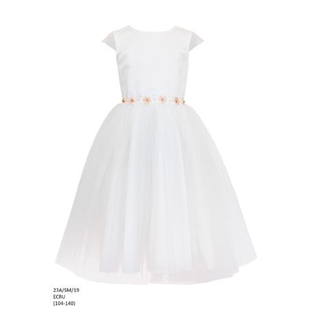 Sukienka tiulowa dla dziewczynki Ecru 23A/SM/19, modne sukienki,sklep dziecięcy