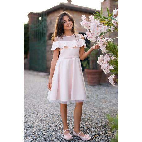 Sukienka dziewczęca z falbanką 26B/SM/19, pokomunijna, na wesele,odzież
