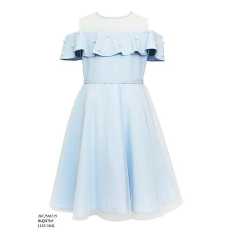 Sukienka dziewczęca z falbanką 26C/SM/19,modne sukienki, pokomunijne,sklep