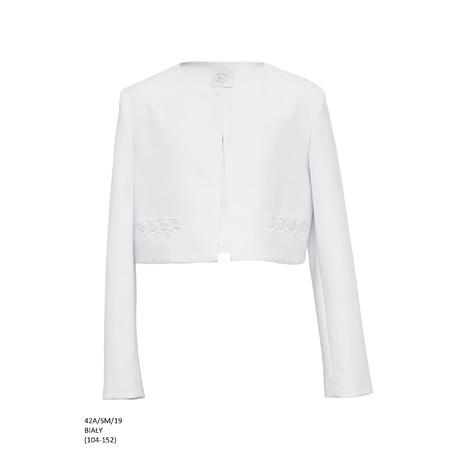 Bolerko komunijne dziewczęce Białe 42A/SM/19,do sukienek wizytowych,na wesela,okazjonalne