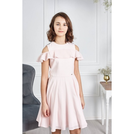 Sukienka dla dziewczynki z falbaną Robin Brzoskwiniowa,pokomunijna,na wesela,na lato,e-zygzak.pl