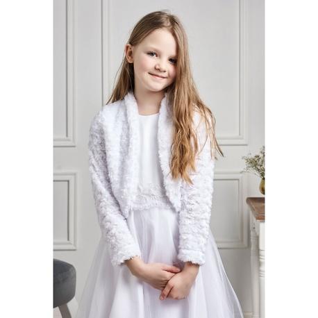 Dziewczęce bolerko wizytowe na I Komunię Laura,futerkowe,do sukienki,ubrania dziecięce