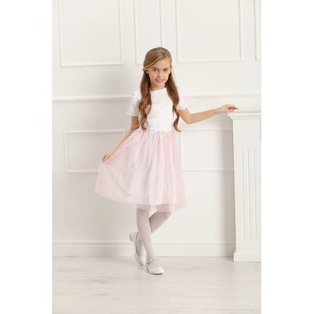 a701878a32 Sukienka wizytowa dla dziewczynki z koronką Charlotte różowa