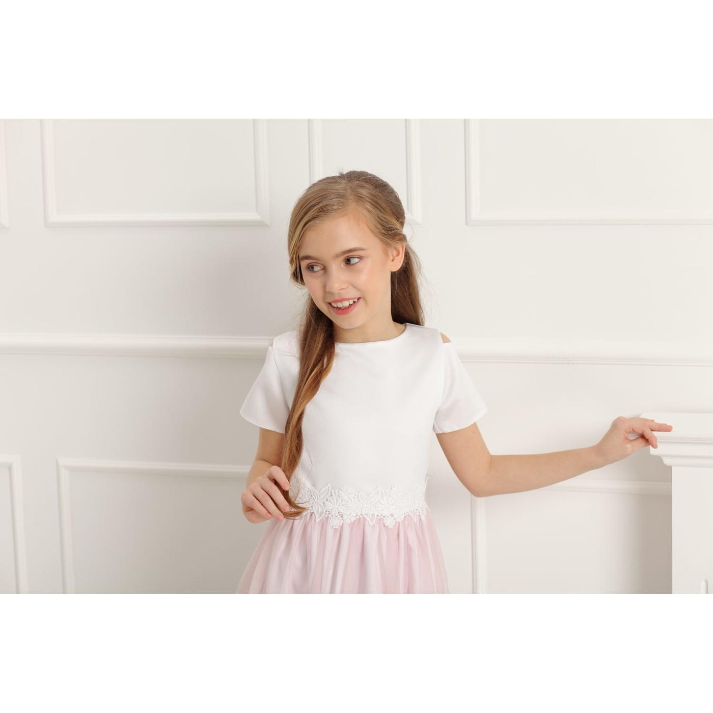 ca2d2f91108f67 ... Sukienka wizytowa dla dziewczynki z koronką Charlotte różowa, na  komunię,na wesela,okazjonalne ...