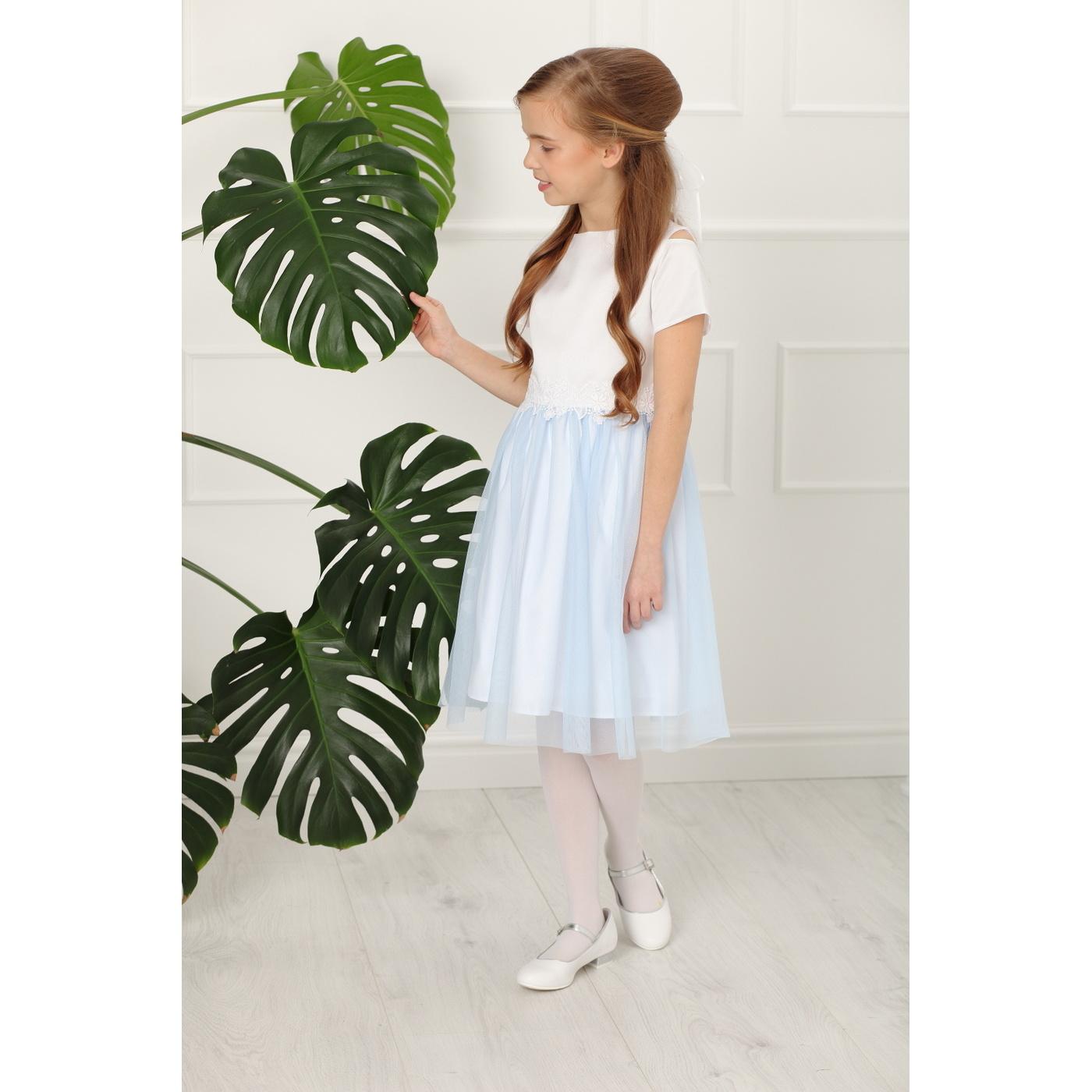36f54d43a22060 ... Sukienka wizytowa dla dziewczynki z koronką Charlotte  błękitna,pokomunijna, na wesela,sklep ...