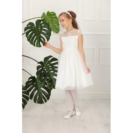 f6a15838b4 Sukienka z tiulu dla dziewczynki Rebecca Ecru