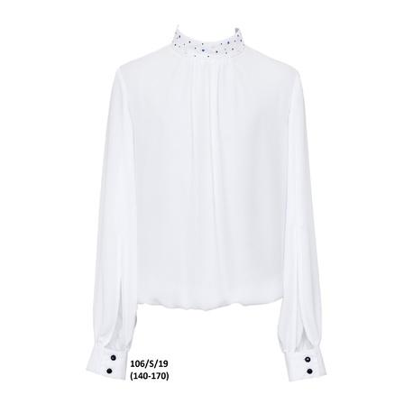 Elegancka biała bluzka dla dziewczynki 106/S/19, na stójce, z długim rękawem, sklep online