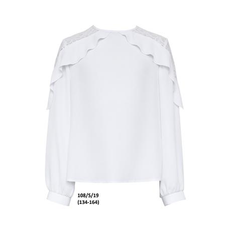 Biała bluzka wizytowa dla dziewczynki 108/S/19, z długim rękawem, galowa,szkolna, sklep e-zygzak.pl