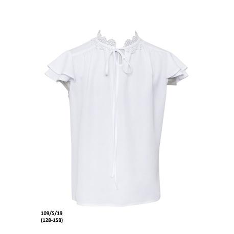 Biała bluzka dla dziewczynki szkolna 109/S/19,z krótkim rękawkiem,galowa, sklep e-zygzak.pl