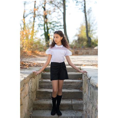 Biała bluzka z kołnierzykiem dla dziewczynki 110/S/19,szkolna,tiulowa,stroje wizytowe,e-zygzak.pl