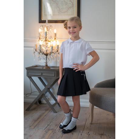 Biała bluzka z kołnierzykiem dla dziewczynki 113/S/19,szkolna,strój galowy,e-zygzak.pl
