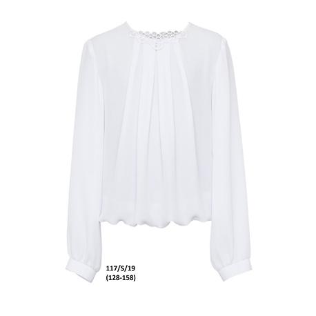 Biała bluzka wizytowa dla dziewczynki 117/S/19,elegancka,szkolna,z gipiurą,ubranka wizytowe