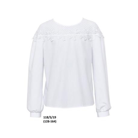 Bluzka dziewczęca wizytowa 118/S/19,biała,strój galowy,ubranka wizytowe,e-zygzak.pl