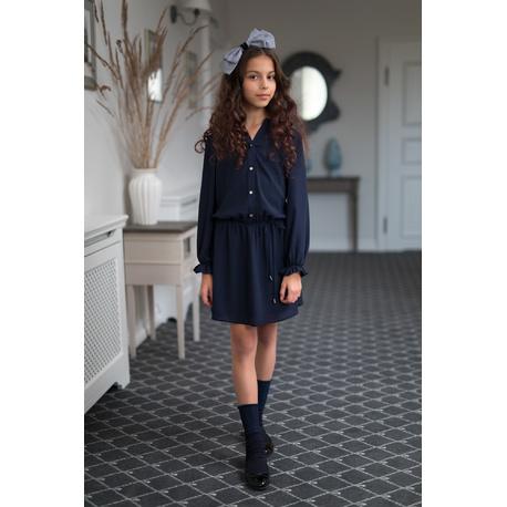 Granatowa sukienka dla dziewczynki 203/S/19,ubranka dla dziewczynek, strój szkolny,sklep e-zygzak.pl