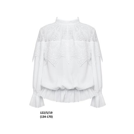 Elegancka biała bluzka dla dziewczynki 122/S/19,z koronką,z długim rękawem, wizytowa, sklep e-zygzak.pl