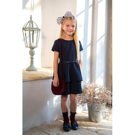 Sukienka dla dziewczynki szkolna granatowa 206/S/19,elegancka z falbanami, strój galowy,sklep e-zygzak.pl