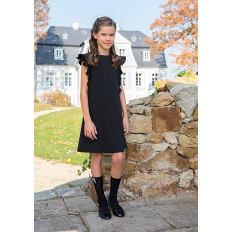 Sukienka dziewczęca szkolna czarna 207A/S/19,z falbankami, wizytowa, ekskluzywne ubranka dla dzieci, e-zygzak.pl