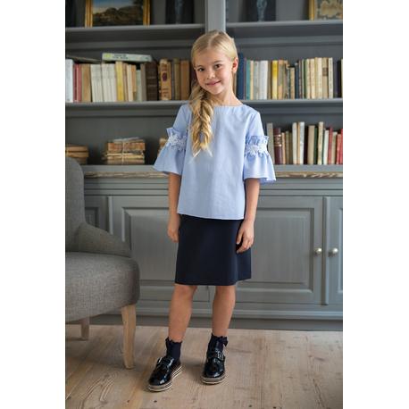 Bluzka dziewczęca w kratkę 137C/S/19,niebieska, z koronką,sklep z ubrankami dla dzieci