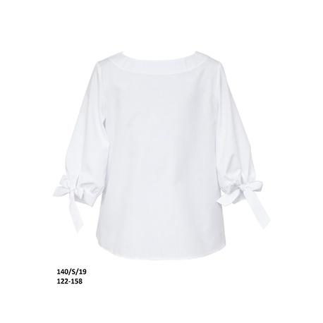 Biała bluzka szkolna z rękawem 3/4 140/S/19, dla dziewczynki, wizytowa, ubrania dla dzieci, e-zygzak.pl