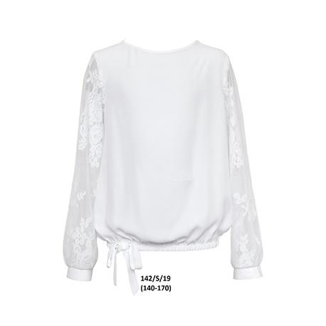 Biała bluzka z koronką dla dziewczynki 142/S/19, szkolna, odzież dziecięca sklep