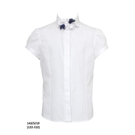 Bluzka z kołnierzykiem dla dziewczynki 143/S/19, taliowana,koszulowa, szkolna, e-zygzak.pl