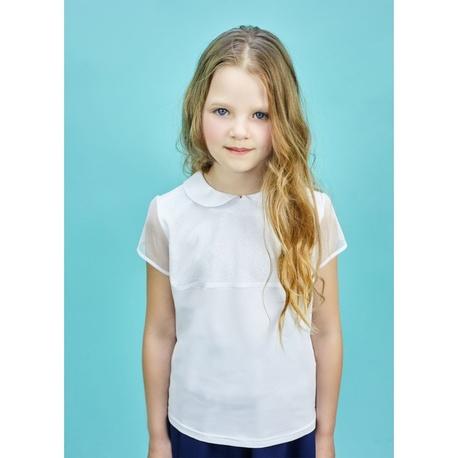 Bluzka dla dziewczynki Ola krótki rękaw, szkolna, biała, sklep dla dzieci, e-zygzak.pl