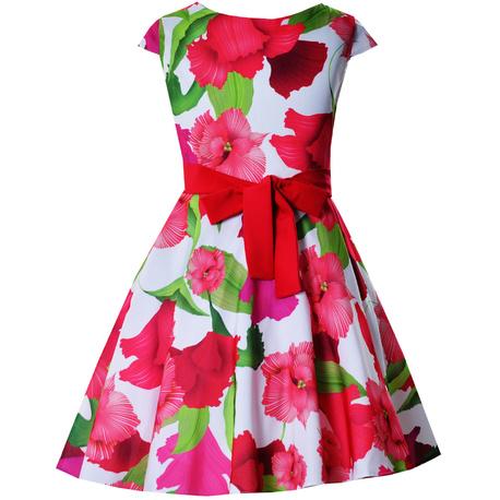Wizytowa sukienka dziewczęca Alyssa czerwone kwiaty, elegancka, na lato, kolorowa, e-zygzak.pl
