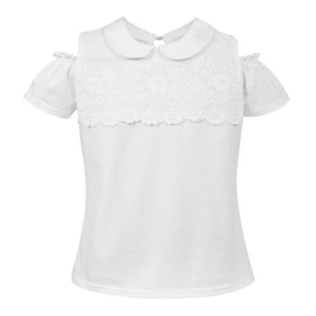 Bluzka z kołnierzykiem dla dziewczynki Rossa, biała, szkolna, hiszpanka, sklep