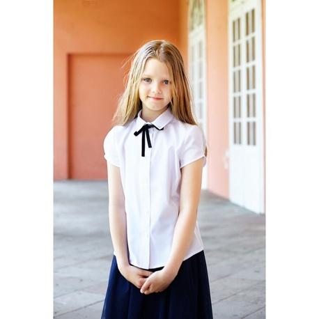 Klasyczna bluzka biała, szkolna Wiola krótki rękaw, na galowo, z kołnierzykiem, sklep e-zygzak.pl