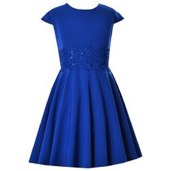 Chabrowa sukienka dla dziewczynki szkolna Barbie, wizytowa, elegancka, z gipiurą, sklep e-zygzak.pl