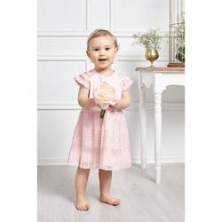 Śliczna delikatna sukienka dla dziewczynki Asia, z koronką,różowa, na lato,sklep dla dzieci