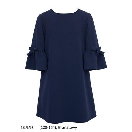 Sukienka dziewczęca szkolna,wizytowa 211/S/19, na galowo, z falbanami na rękawach, sklep