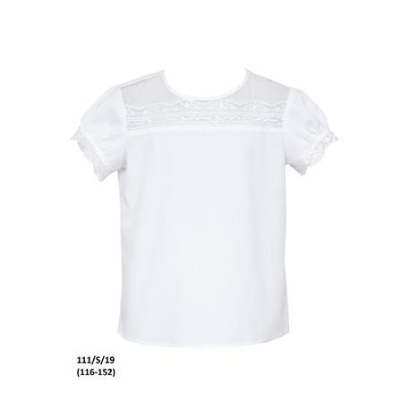 Bluzka biała szkolna z koronką dla dziewczynki 111/S/19, wizytowa, do spodni, do spódnicy, e-zygzak.pl