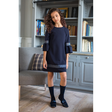 Sukienka dla dziewczynki, szkolna, wizytowa 208/S/19,rękaw z rozkloszowaną falbaną, sklep