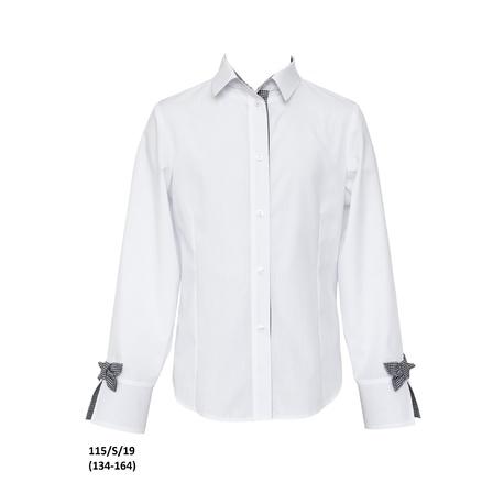 Biała bluzka koszulowa dla dziewczynki 115/S/19, z kokardkami, z mankietem, na galowo, sklep