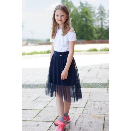 Tiulowa spódnica granatowa dla dziewczynki Sally,szkolna, elegancka, na gumce,ubranka dla dzieci e-zygzak.pl