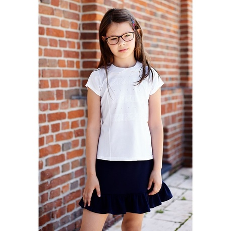 Biała bluzka z kołnierzykiem Megi krótki rękaw, do szkoły, do spódnicy, do spodni, e-zygzak.pl