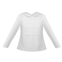 Biała bluzka z kołnierzykiem Megi długi rękaw, do szkoły, na galowo, do spódnicy, e-zygzak.pl