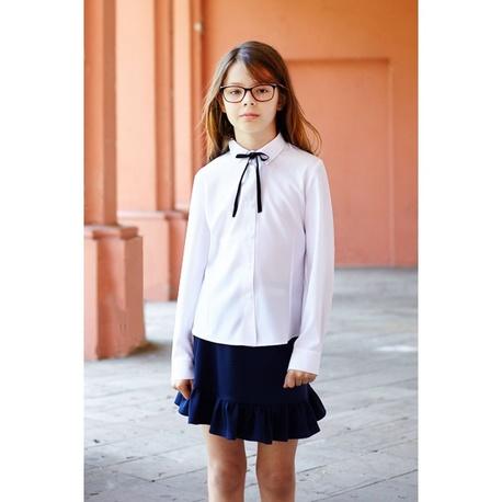 Klasyczna bluzka biała, szkolna Wiola długi rękaw, z tasiemką, zapinana na guziki, ubranka dla dzieci