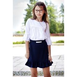 Spódnica dziewczęca z falbaną Wera granatowa, szkolna, na gumce, e-zygzak.pl