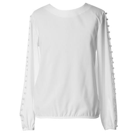 Biała bluzka z perełkami dla dziewczynki, szkolna, wizytowa, do spódnicy, e-zygzak.pl