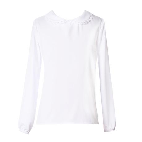 Biała bluzka z kołnierzykiem dla dziewczynki M/313, do szkoły, na galowo, elegancko, e-zygzak.pl