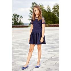 Granatowa sukienka dla dziewczynki Andrea,szkolna, z obniżonym stanem, e-zygzak.pl
