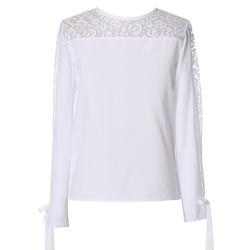 Biała bluzka szkolna dziewczęca, z długim rękawem, z koronką,szkolna,e-zygzak.pl