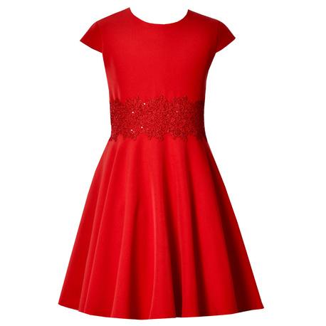 Czerwona sukienka dla dziewczynki Barbie, z gipiurą w pasie, okazjonalna, mięciutka,e-zygzak.pl