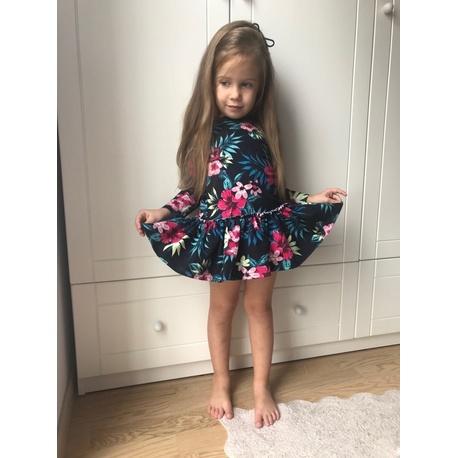 Kwiatowa sukienka dla dziewczynki Erin,z falbaną, z długim rękawem, e-zygzak.pl