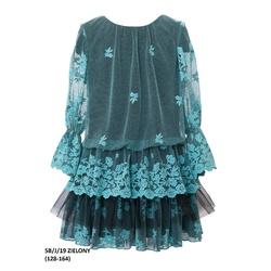 Dziewczęca sukienka w sylu Boho 5B/J/19, z koronką, rękaw3/4, przed kolano,e-zygzak.pl