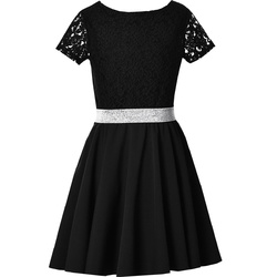 Elegancka sukienka dla dziewczynki z koronką Estella, czarna, ze srebrną gumką w pasie, e-zygzak.pl