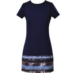 Granatowa sukienka dla dziewczynki Olivia, z cekinami, z frędzelkami, szkolna, e-zygzak.pl